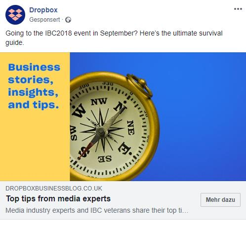B2B-Marketing-Beispiel von Dropbox auf dem Social-Media-Kanal Facebook