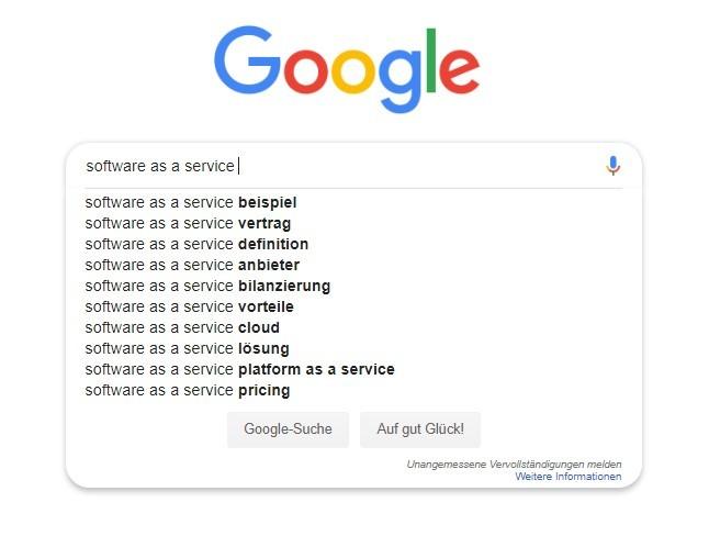 Schon in der Suchmaske gibt Google Ihnen viele Vorschläge für Ihre Keyword-Recherche.
